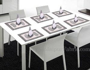 Black Border With Hand Block Print Super Fine Cotton Mate Napkin Set  Of 6