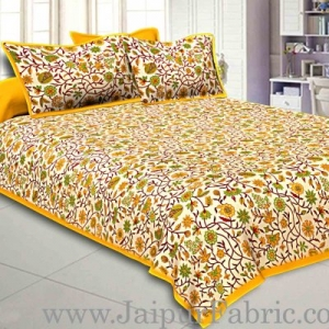 Double Bedsheet With Yellow Branch Of Pomegranate With Two Pillow Cover