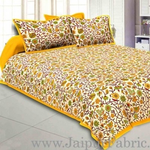 Wholesale Double Bedsheet With Yellow Branch Of Pomegranate With Two Pillow Cover