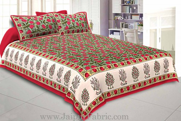 Double Bedsheet Super Fine Cotton Smooth Touch  With Floral Print Hand Block