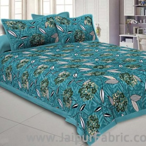 Green Flowery Double Bedsheet