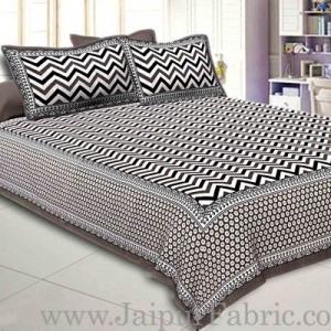 Double Bedsheet Grey  Border  Fine Cotton  Zig -Zag Print