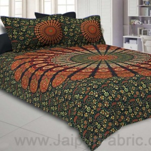 Green Mandala Double Bedsheet Tapestry with 2 Pillow Covers