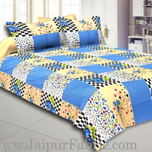 Blue Flower with Checkered Print Double Bed Sheet