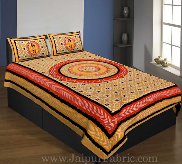 Single Bedsheet Pure Cotton Brown  Border with  Bandhej and Rangoli Print