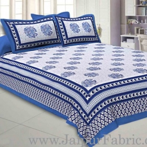 Double bedsheet Firozi Border With Big Boota  Print Fine Cotton With Two Pillow Cover