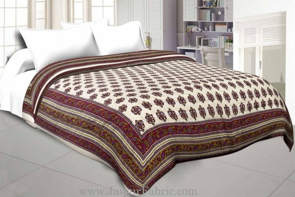 Cream Base Maroon Green  Bel  Boota Print Both Side Printed Cotton Double Quilt