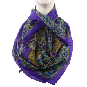 Silk Scarf Royal Blue Border Blue Base Paisley Print