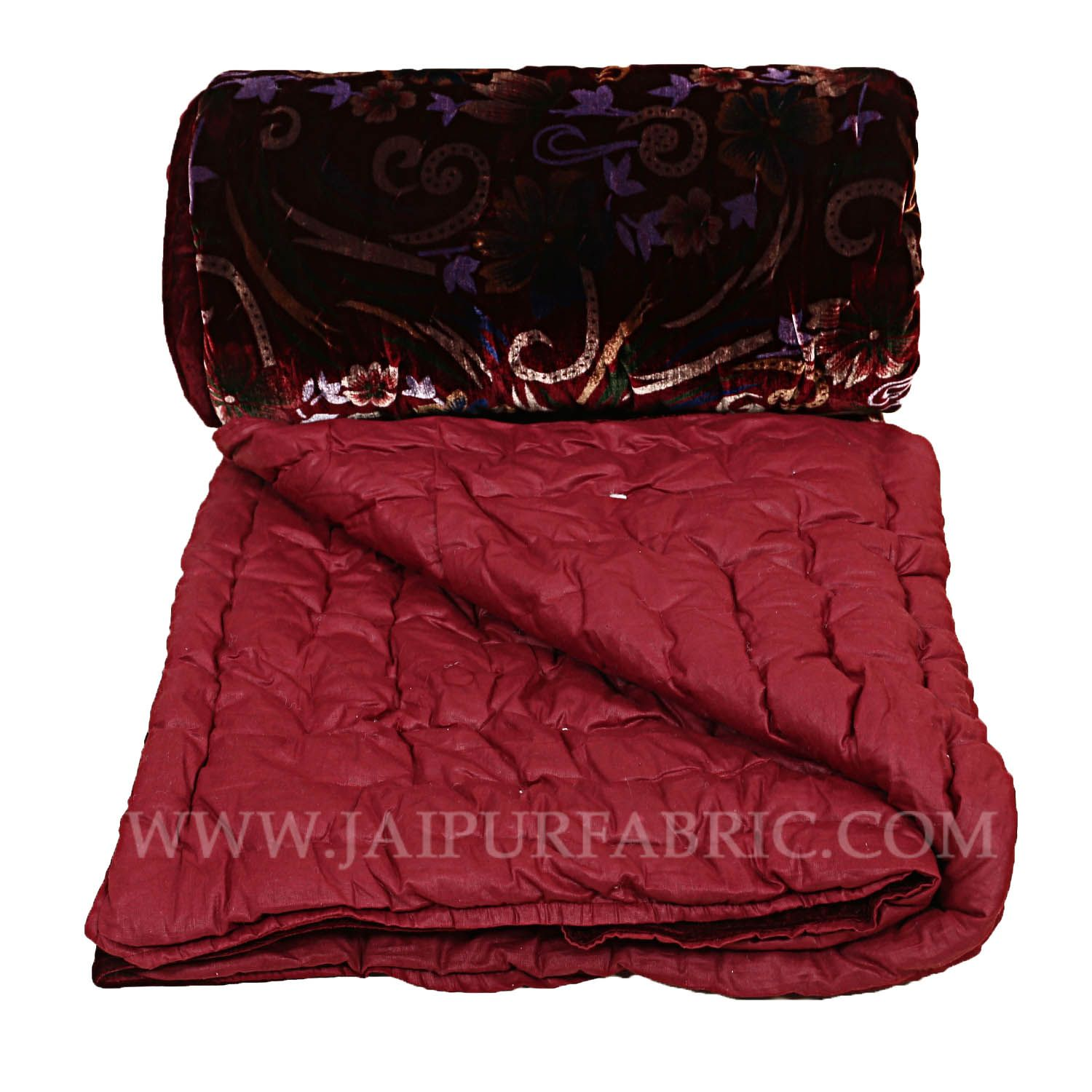 Jaipuri Hand Crafted Red Smooth Touch  Floral Print Velvet Double Quilt