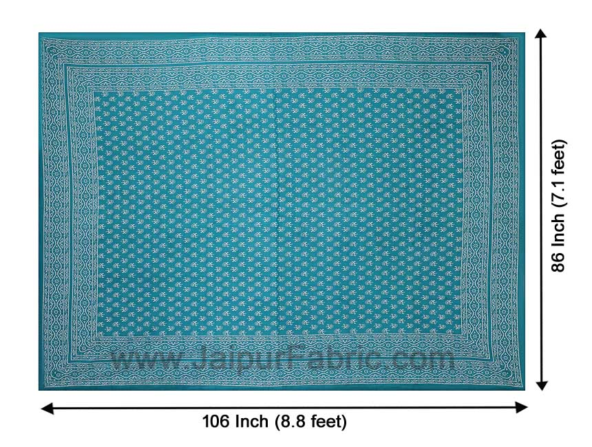 Double Bedsheet Aqua Green Small Leaf Print