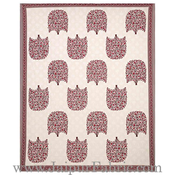 Double bedsheet Red Small Tree Smooth Cotton Screen Print