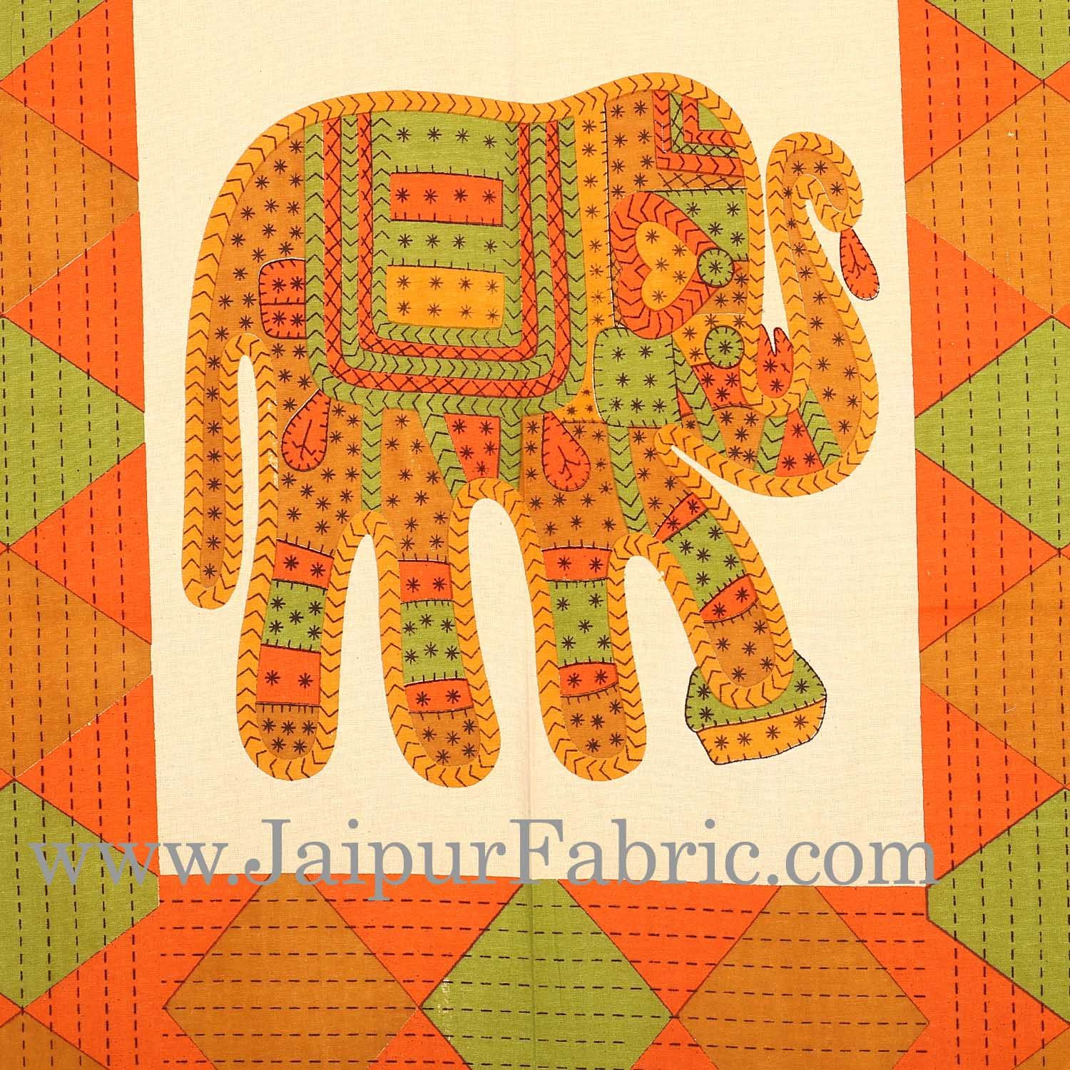 Maroon Border Orange  Big Elephant  Diwan Set