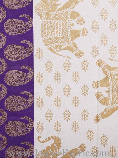 Purple Border Elephant Golden Print Cotton Double Bedsheet With Pillow Cover