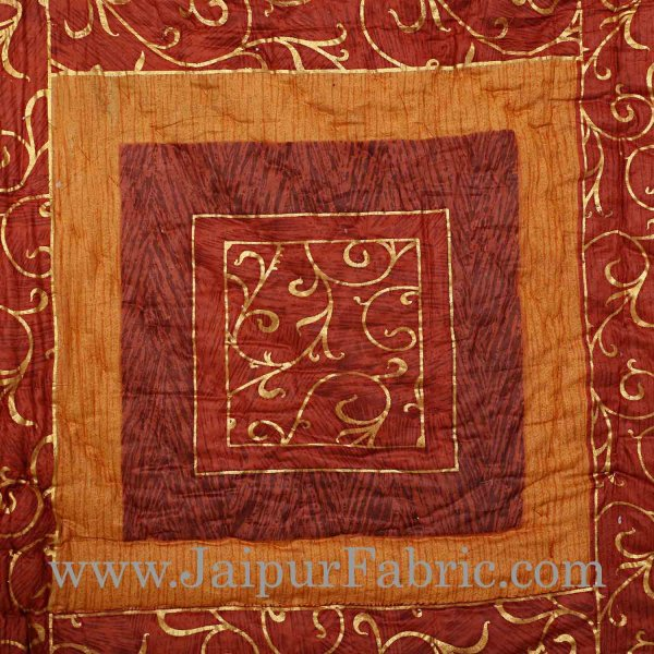 Coffee And Dark Brown Golden Jaipuri  Tree  print Double Bed Quilt