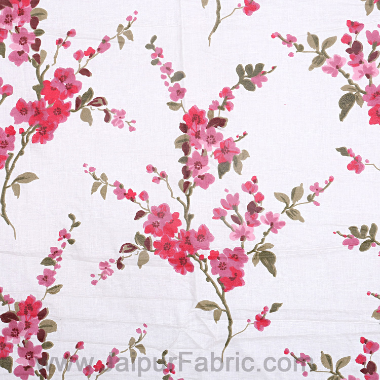 Pure Cotton 240 TC Single Bedsheet in Red motif floral print taxable