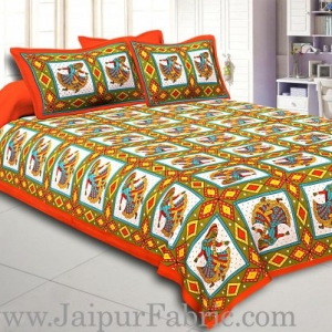 Orange Jaipuri Ghoomar Dance Print Cotton Double Bed Sheet