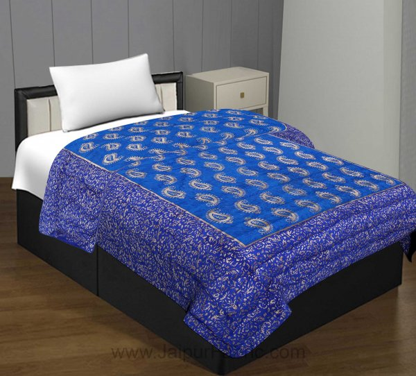 Jaipuri Printed Single Bed Razai Golden Blue and Sea Green with Paisley pattern