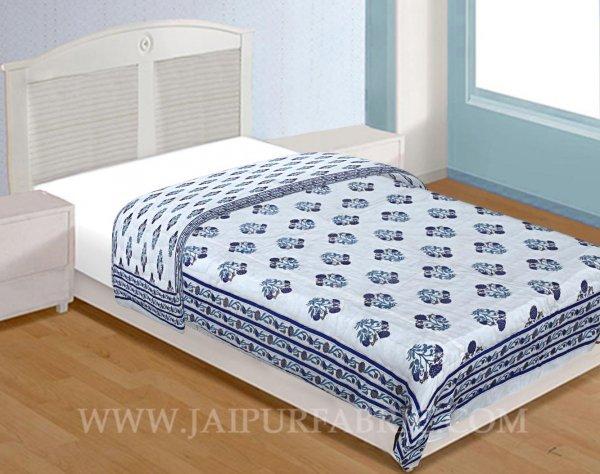 Single Quilt Blue Mughal Print Super Fine  Golden Print Reversable