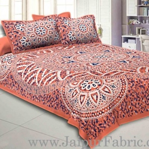Double bedsheet Brown Color Sanganeri Rangoli Pattern Smooth Touch With 2 Pillow Cover
