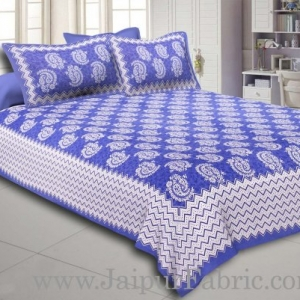 Blue  Border With Zig Zig Lining Twin Kerry Pattern Cotton Double Bed Sheet