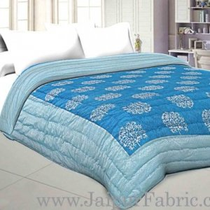 Jaipuri Printed Double Bed Razai Silver  Firozi And Ice Blue White base with Jall pattern