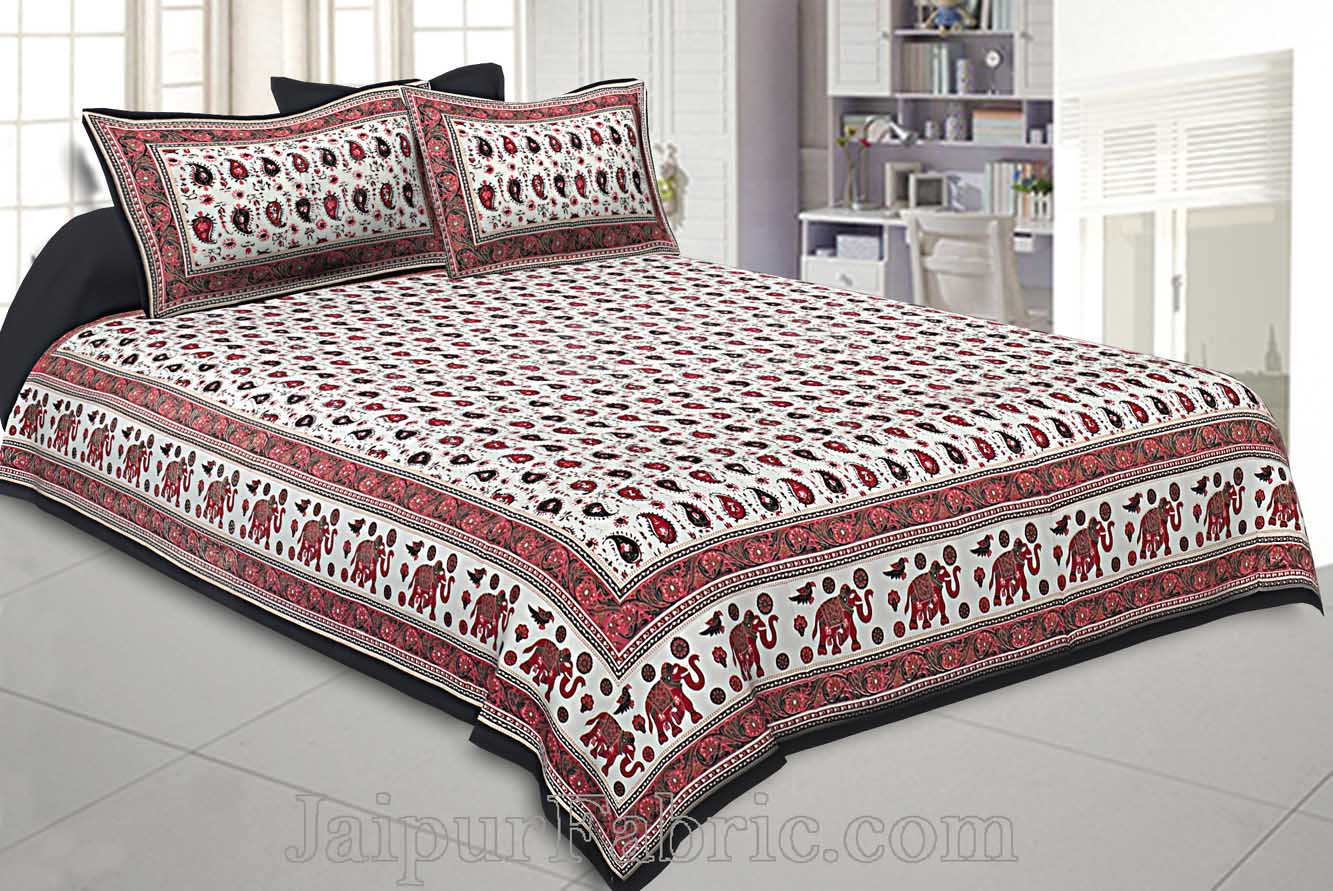 Double Bedsheet Paisley Maroon Gold Print