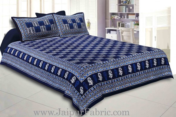 Blue Border Blue Base Checkered  Print Fine Cotton Double Bed sheet  With Pillow Cover