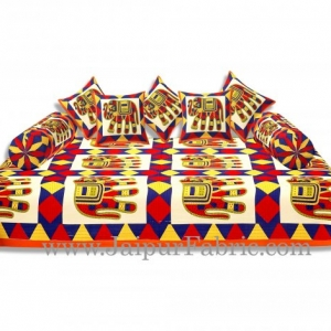 Orange Border Blue And Yellow Big Elephant Diwan Set