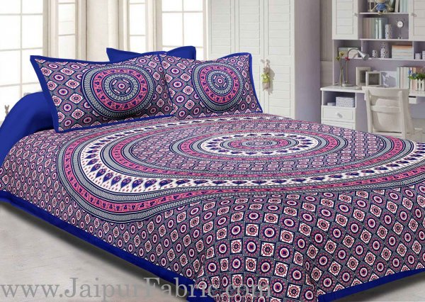 Blue Border Sanganeri Print Cotton Double Bed Sheet With 2 Pillow Cover
