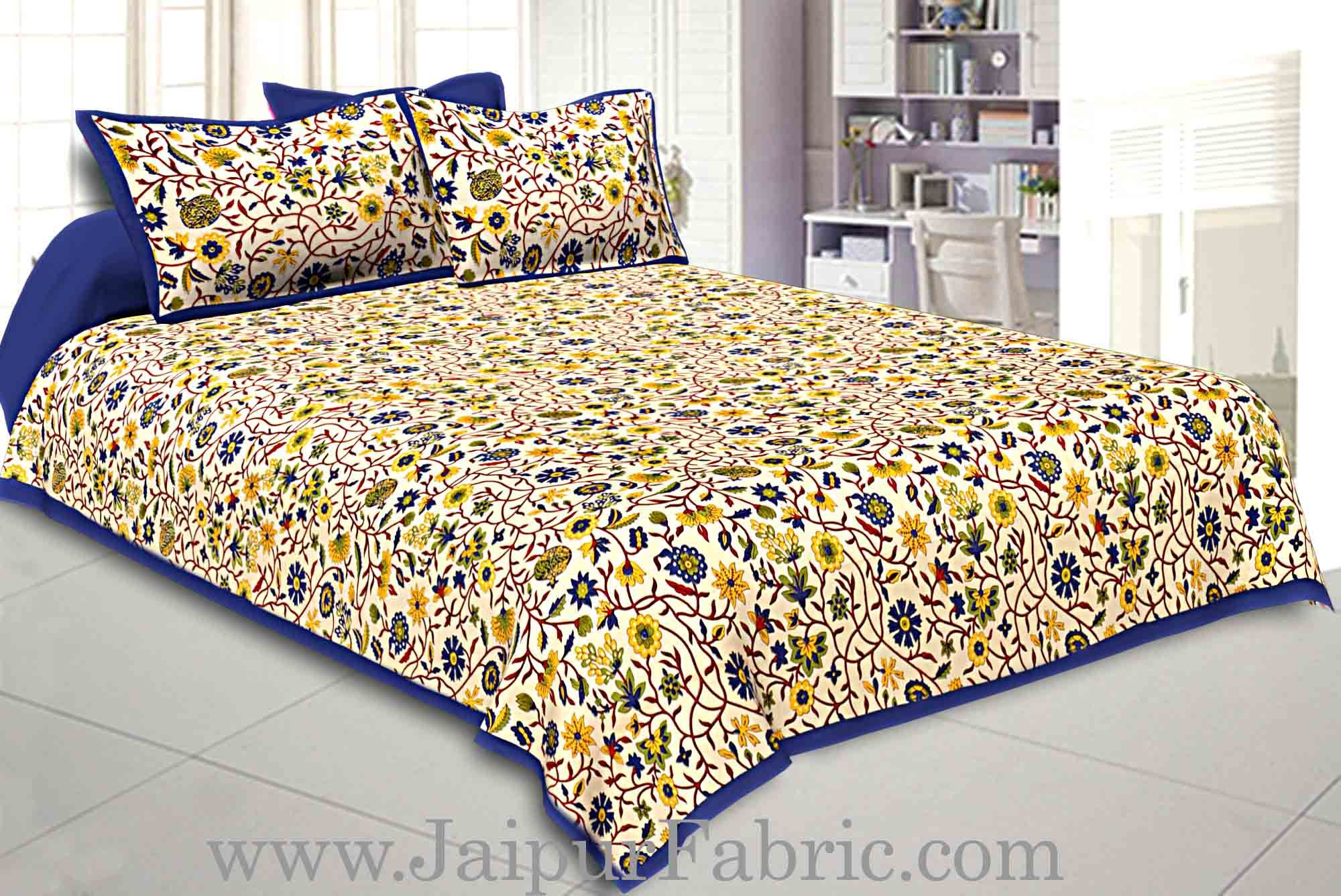 Double bedsheet with Blue  Border Branch of   Pomegranate With Two Pillow Cover