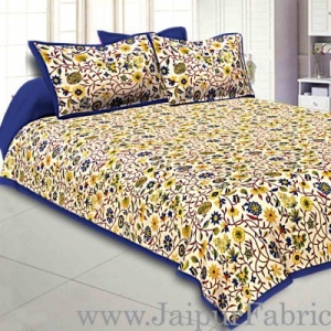 Wholesale Double bedsheet with Blue Border Branch of Pomegranate With Two Pillow Cover