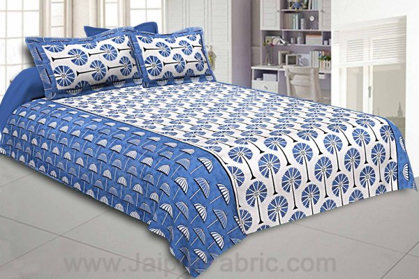 Double Bedsheet Blue Palm Tree Print Cotton