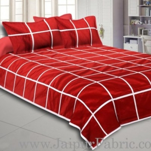 Light Red   With  White Check Silk festive Double Bed sheet