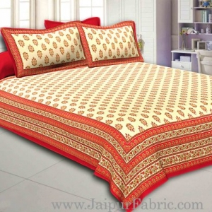 Red Border Cream Base  Multi Border Small Booti  With Golden Print Super Fine Cotton Double Bedsheet