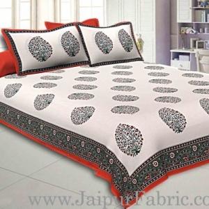 Double Bedsheet Orange  Border  Fine Cotton Big Boota  Print
