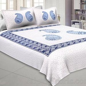 Twill Cotton Double Bedsheet Sky Blue Boota Print