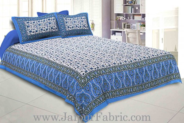 Double Bedsheet Blue Vintage Seamless Jaal Print With 2 Pillow Covers