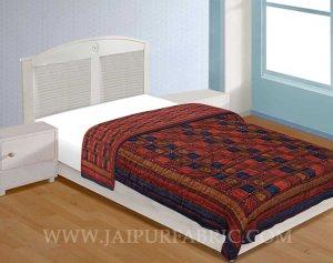 Jaipuri Razai/Quilt  Multi Check Dabu Print Fine Cotton