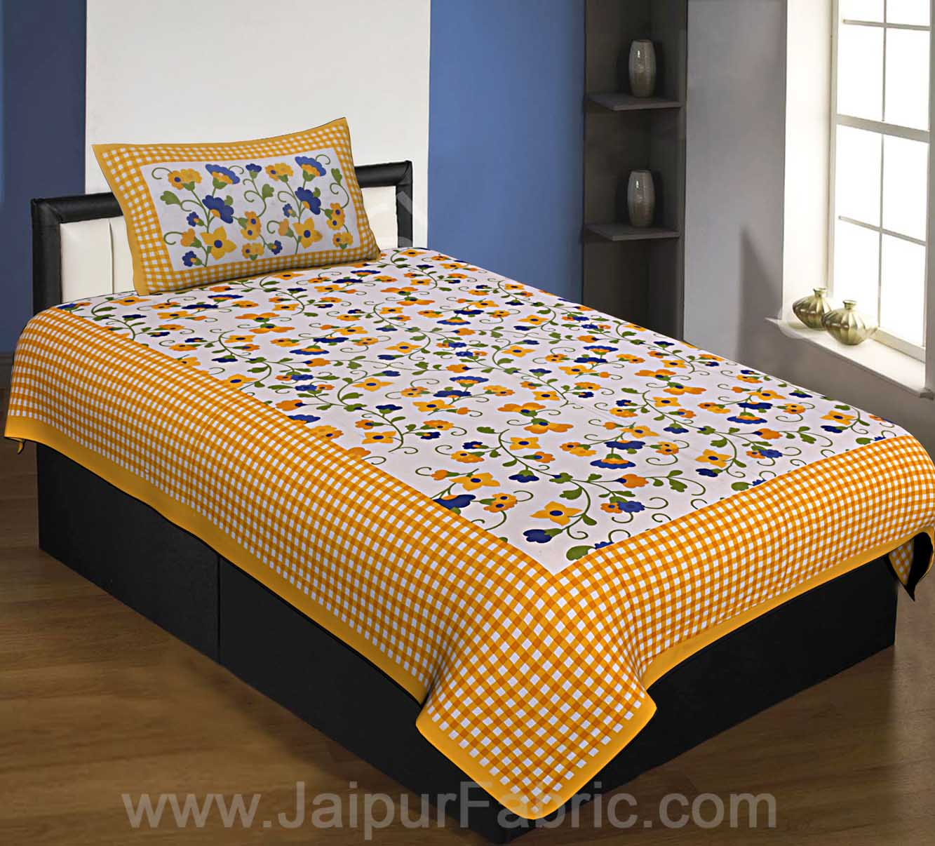 Floral Single Bedsheet Yellow Color Dotted Border with 1 Pillow Cover