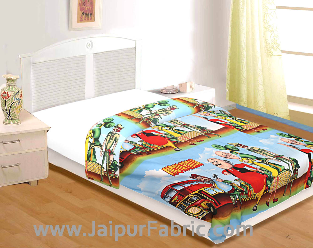 Motu Patlu Cartoon Kids Design Print Double Bed Reversible AC Blanket | Dohar | Quilt | Comforter | Duvet (Polycotton, Multicolor)