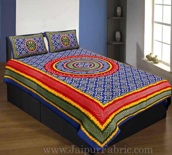 Single Bedsheet Pure Cotton Blue Border with  Bandhej and Rangoli Print