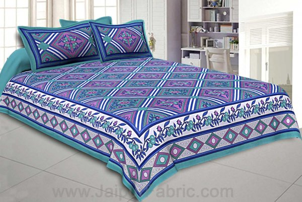 Floral diamonds blue green Double Bedsheet
