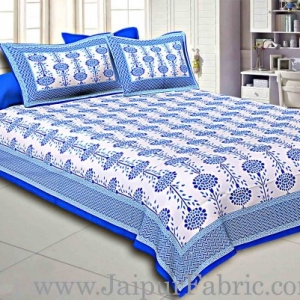 Blue Border Cream Base Linear Floral Cotton Satin Hand Block Double Bedsheet
