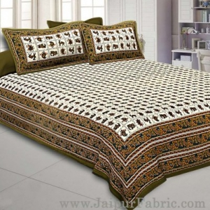 Super King Size Double Bedsheet Green Jaipuri Traditional Print with 2 Pillow Covers