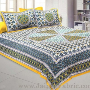 Sanganeri Double Bedsheet in SunShine Yellow shade