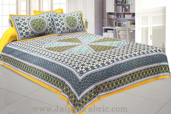 Wholesale Sanganeri Double Bedsheet in SunShine Yellow shade