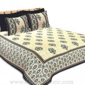 Double Bedsheet Blue Border Big Boota Print