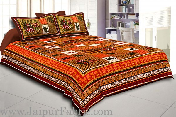 Dark Brown Border Orange Base Doli Print In Checks Fine Cotton Double Bed Sheet