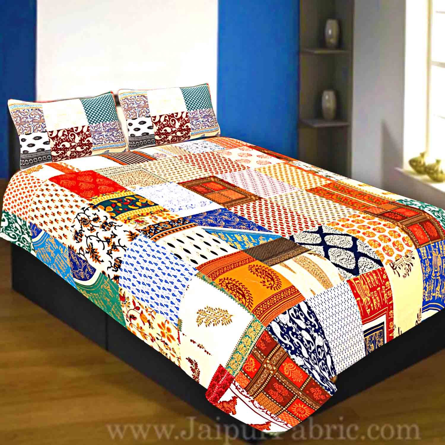 Mix Tukdi Super Fine Cotton Golden Print Single Bedsheet