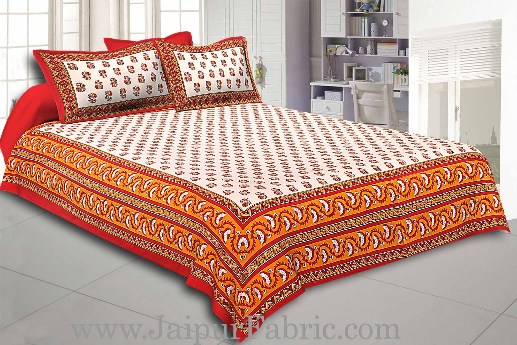Maroon Border with Bell And Floral Cotton Double Bedsheet